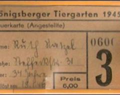 Именной входной билет в Кёнигсбергский зоопарк. 1945 г. Подарен «Обществом по охране и исследованию сов» (Германия).